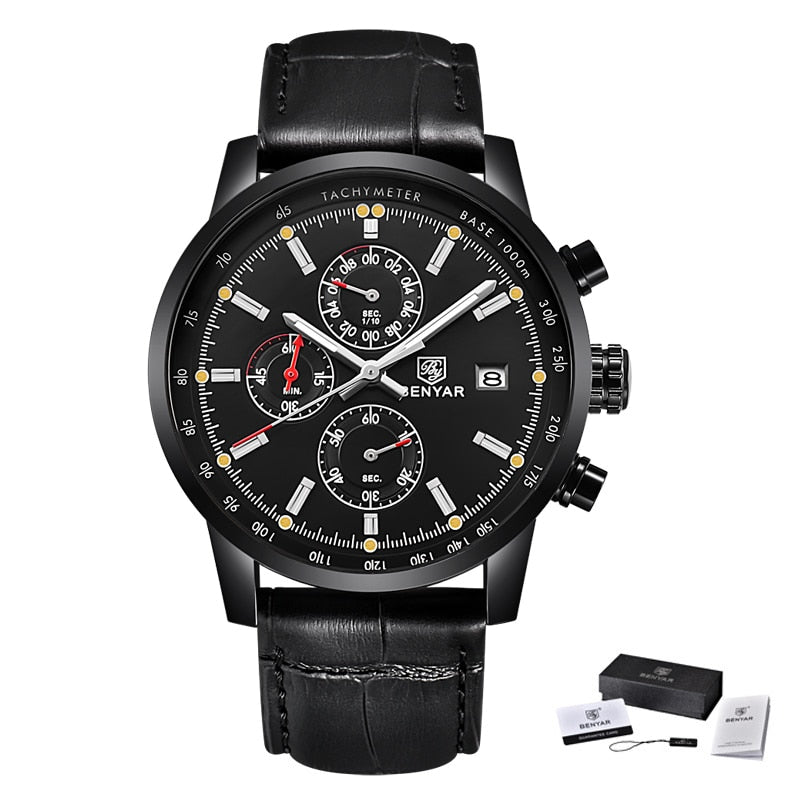 All black - BENYAR Fashion Chronograph Sport Mens Watches Top Brand Luxury Quartz Watch Reloj Hombre saat Clock Male hour relogio Masculino