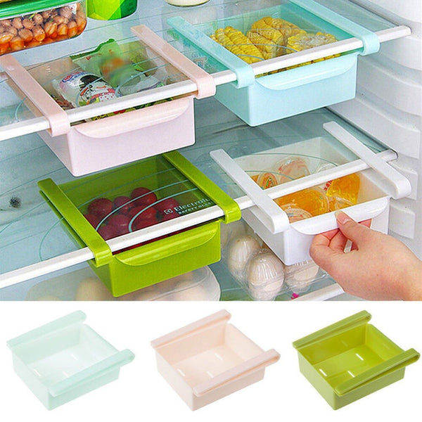 [variant_title] - Mini ABS Slide Kitchen Fridge Freezer Space Saver Organization Storage Rack Bathroom Shelf