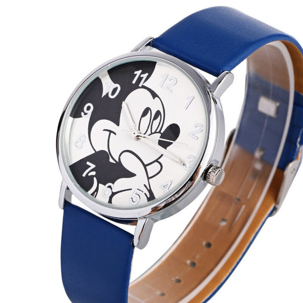[variant_title] - New Women Watch Mickey Mouse Pattern Fashion Quartz Watches Casual Cartoon Leather Clock Girls Kids Wristwatch Relogio Feminino