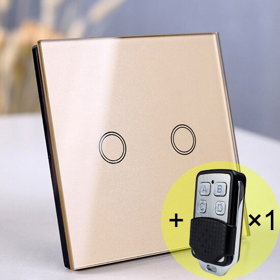 2 gang Gold Remote - EU/UK Standard Touch Switch, Wall Light Touch Screen Switch, wireless Remote control Wall touch switch , 2 gang gray AC130~250V
