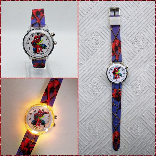 Blue - Flashing light Spiderman children watch high quality kids watches child luminous boys girls clock printing silicone belt table