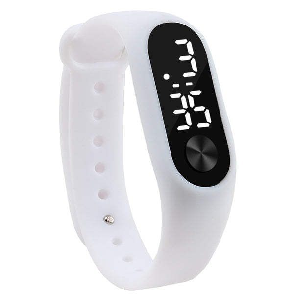 white - Fashion Men Women Casual Sports Bracelet Watches White LED Electronic Digital Candy Color Silicone Wrist Watch for Children Kids