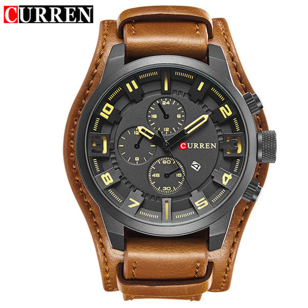 black yellow - Curren 8225 Army Military Quartz Mens Watches Top Brand Luxury Leather Men Watch Casual Sport Male Clock Watch Relogio Masculino