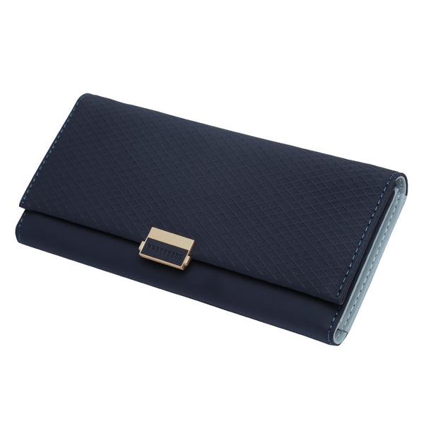 Dark Blue - Woman Wallet Clutch Plaid Wallet Zipper Female Ladies Hot Change Women Luxury Credit Phone Card Holder Coin Purses For Girls