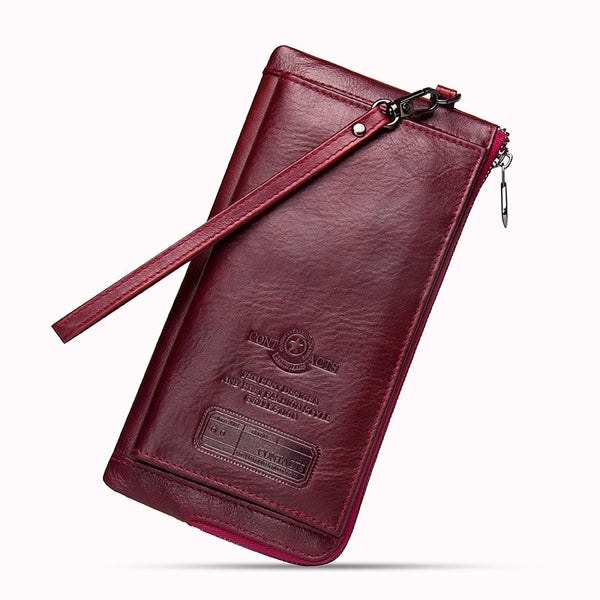 Red - 2019 Men Wallet Clutch Genuine Leather Brand Rfid  Wallet Male Organizer Cell Phone Clutch Bag Long Coin Purse Free Engrave