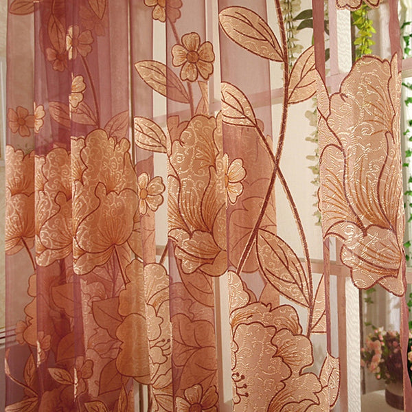 Brown Tulle / Custom made / 1 Tab Top - Top Finel Modern Luxury Embroidered Sheer Curtains for Living Room Bedroom Kitchen Door Tulle Curtains Drapes Window Treatments
