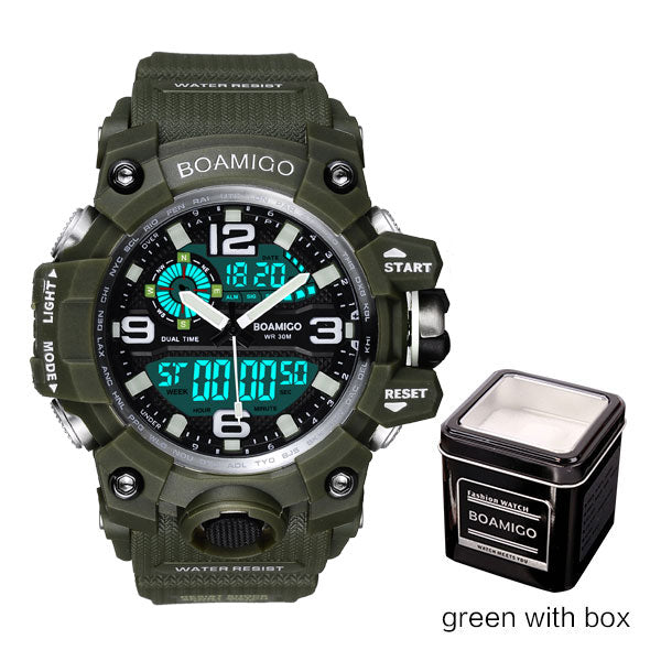 green with box - Men Sports Watches BOAMIGO Brand Digital LED Orange Shock Swim Quartz Rubber Wristwatches Waterproof Clock Relogio Masculino