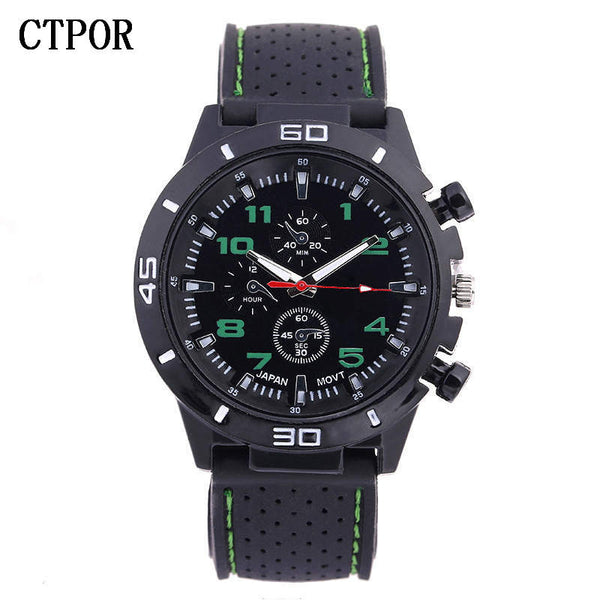 green - 9-18 years Old Sports Children's Watch Military Sports Car Style Man Watches Silicone Wristwatch Child Student Clock Kids Boy WA