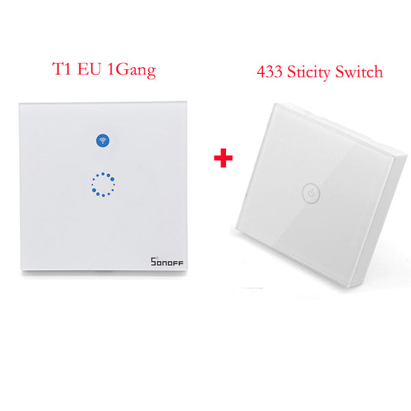 T1 1Gang with panel - Sonoff T1 EU Smart Wifi Wall Touch Light Switch 1/2 Gang Touch / WiFi / 433 RF / APP Remote Control Smart Home Work with Google