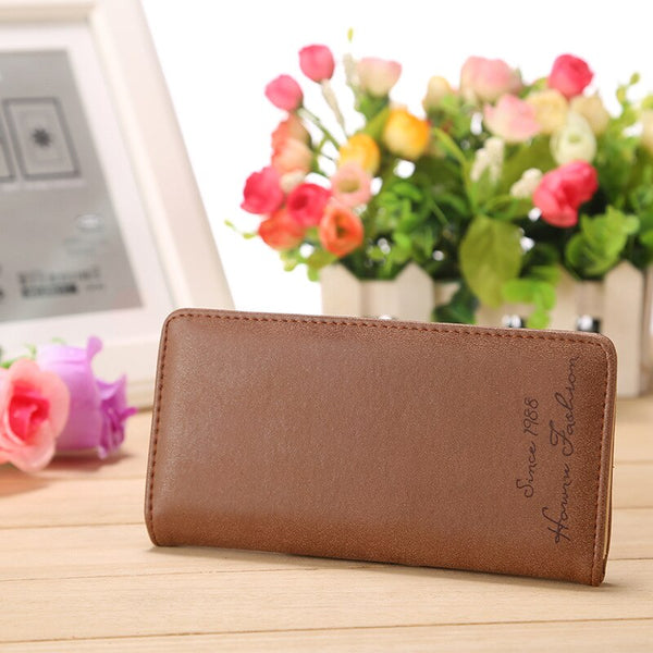 Chocolate - Minimalist Designer Slim Long Bifold Women Wallet Female Clutch Leather Brand Coin Purse Ladies Card Holder Money Dollar Cuzdan