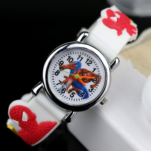 White no Flash light - 2019 Spiderman Children Watches Cartoon Electronic Colorful Light Source Child Watch Boys Birthday Party Kids Gift Clock Wrist
