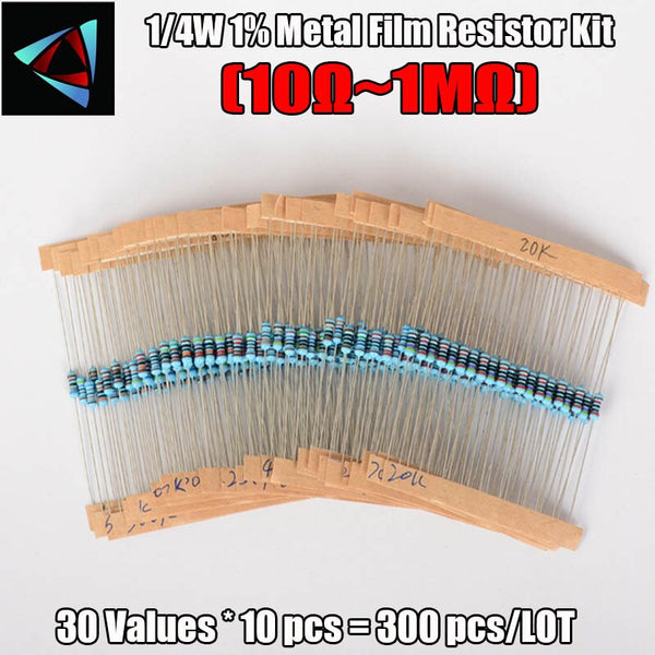 [variant_title] - 1 Box 300Pcs 10 -1M Ohm 1/4w Resistance 1% Metal Film Resistor Resistance Assortment Kit Set 30 Kinds Each 10pcs