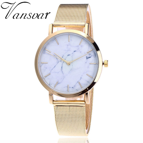gold - Vansvar Brand Fashion Silver And Gold Mesh Band Creative Marble Wrist Watch Casual Women Quartz Watches Gift Relogio Feminino