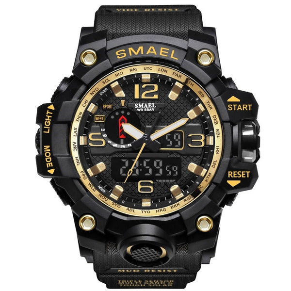1545 Black Gold - SMAEL Brand Men Sports Watches Dual Display Analog Digital LED Electronic Quartz Wristwatches Waterproof Swimming Military Watch