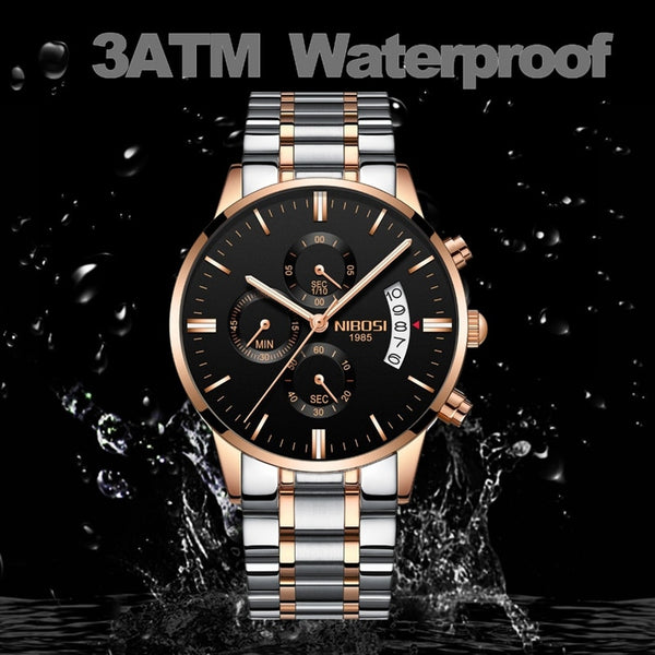 [variant_title] - NIBOSI Men Watch Chronograph Sport Mens Watches Top Brand Luxury Waterproof Full Steel Quartz Gold Clock Men Relogio Masculino