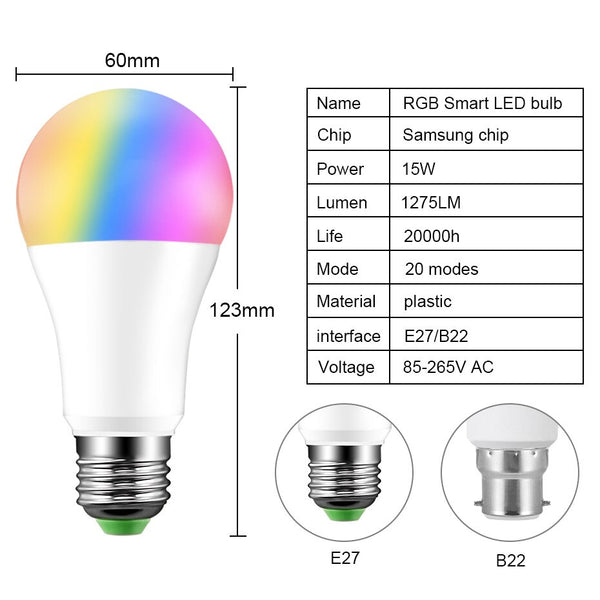 [variant_title] - Newest 15W RGB Bluetooth Smart LED Bulb E27 Dimmable B22 RGBW RGBWW LED Bulb Music Voice Control Smart Light Lamp for Home Decor