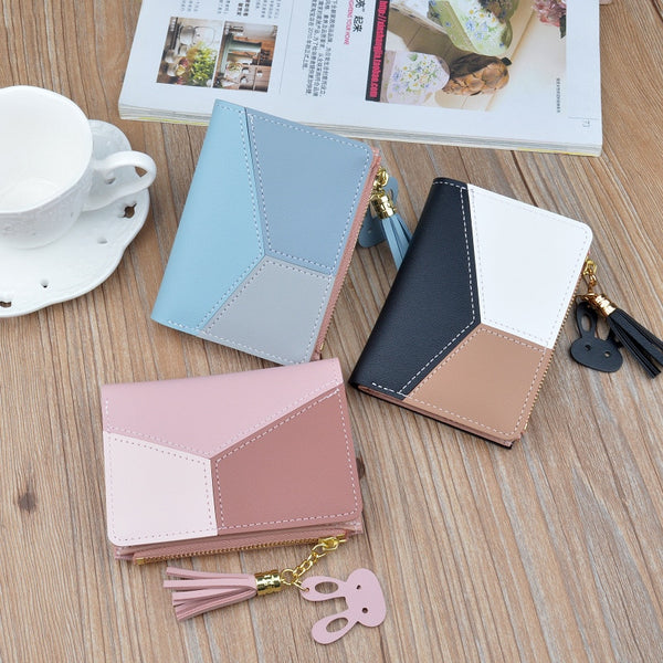 Random - New Arrival Wallet Short Women Wallets Zipper Purse Patchwork Fashion Panelled Wallets Trendy Coin Purse Card Holder Leather