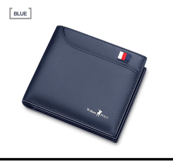 blue - 2019 Men's Slim Wallet Genuine Leather Mini Purse Casual Design Bifold Wallet Fashion Brand Short Small Pouch Gift PL181342