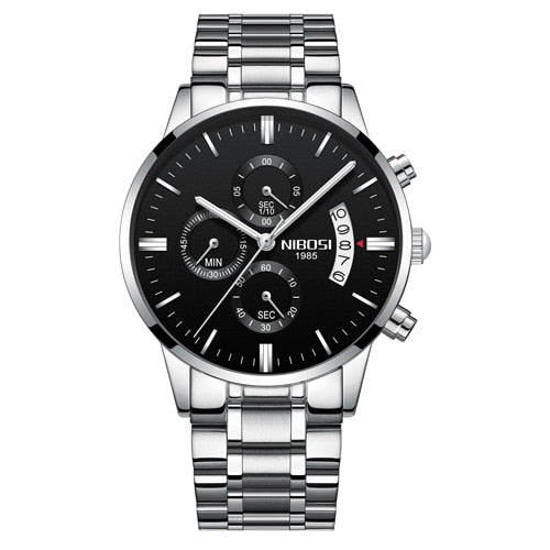 Silver Black Steel - NIBOSI Relogio Masculino Men Watches Luxury Famous Top Brand Men's Fashion Casual Dress Watch Military Quartz Wristwatches Saat