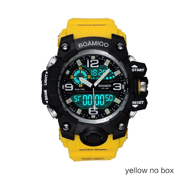 yellow no box - Men Sports Watches BOAMIGO Brand Digital LED Orange Shock Swim Quartz Rubber Wristwatches Waterproof Clock Relogio Masculino