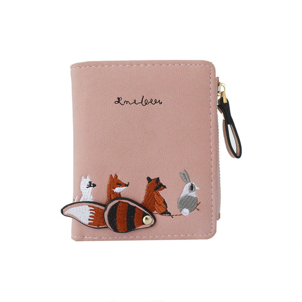 Pink - High quality Women's Wallet Lovely Cartoon Animals Short Leather Female Small Coin Purse Hasp Zipper Purse Card Holder For Girls
