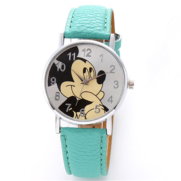 Peppermint Green - New Women Watch Mickey Mouse Pattern Fashion Quartz Watches Casual Cartoon Leather Clock Girls Kids Wristwatch Relogio Feminino