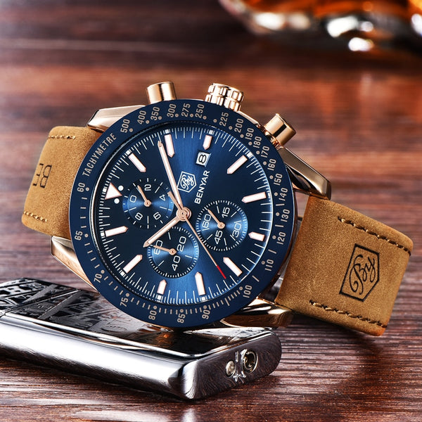 [variant_title] - BENYAR Men Watches Brand Luxury Silicone Strap Waterproof Sport Quartz Chronograph Military Watch Men Clock Relogio Masculino