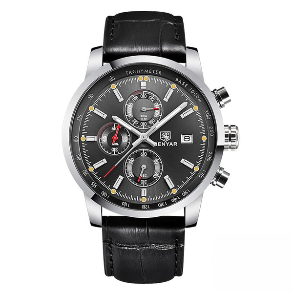 NO BOX -black Grey - BENYAR Fashion Chronograph Sport Mens Watches Top Brand Luxury Quartz Watch Reloj Hombre saat Clock Male hour relogio Masculino