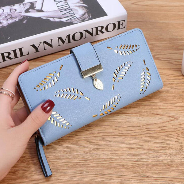 Blue - Women Wallet PU Leather Purse Female Long Wallet Gold Hollow Leaves Pouch Handbag For Women Coin Purse Card Holders Clutch