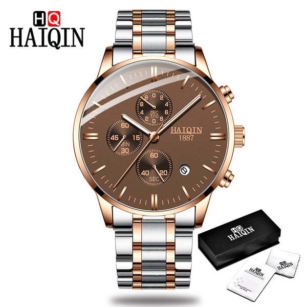 Rose gold - HAIQIN Men's watches Fashion Mens watches top brand luxury/Sport/military/Gold/quartz/wrist watch men clock relogio masculino