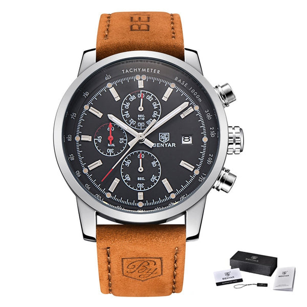 L Brown Silver black - BENYAR Fashion Chronograph Sport Mens Watches Top Brand Luxury Quartz Watch Reloj Hombre saat Clock Male hour relogio Masculino