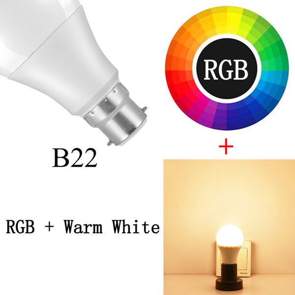 B22 RGBWW / 15w - Smart Bulb E27 B22 LED Wireless Bluetooth4.0 Dimmable 15W RGB Bulb Google Home APP Control Multicolored Changing Night Light