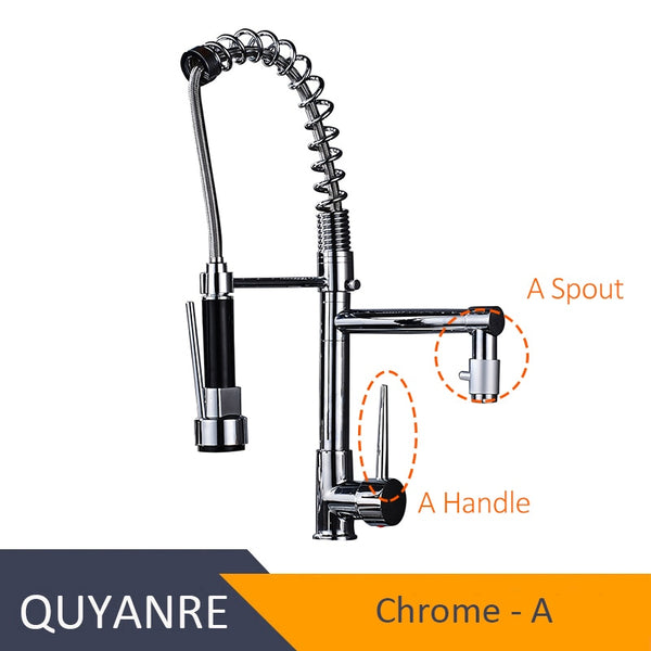 CHROME JIAN - Blackend Spring Kitchen Faucet Pull out Side Sprayer Dual Spout Single Handle Mixer Tap Sink Faucet 360 Rotation Kitchen Faucets