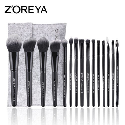 Elegant black color - ZOREYA Makeup Brushes 4/8/10/11/12/15pcs Professional Makeup Brush Set Many Different Model As Essential Cosmetics Tool