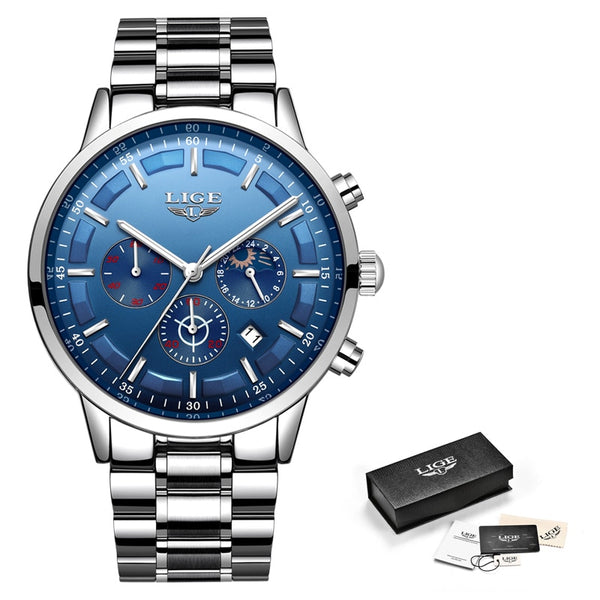 Silver Blue - Relojes 2018 Watch Men LIGE Fashion Sport Quartz Clock Mens Watches Top Brand Luxury Business Waterproof Watch Relogio Masculino