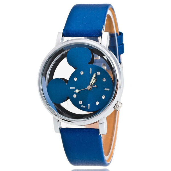 Blue - Brand Leather Quartz Watch Women Children Girl Boy Kids Fashion Bracelet Wrist Watch Wristwatches Clock Relogio Feminino Cartoon