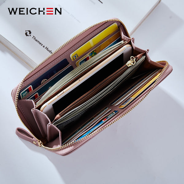 [variant_title] - WEICHEN Wristband Women Long Clutch Wallet Large Capacity Wallets Female Purse Lady Purses Phone Pocket Card Holder Carteras