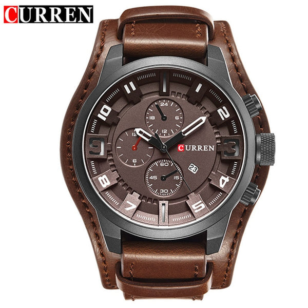 black brown - Curren 8225 Army Military Quartz Mens Watches Top Brand Luxury Leather Men Watch Casual Sport Male Clock Watch Relogio Masculino