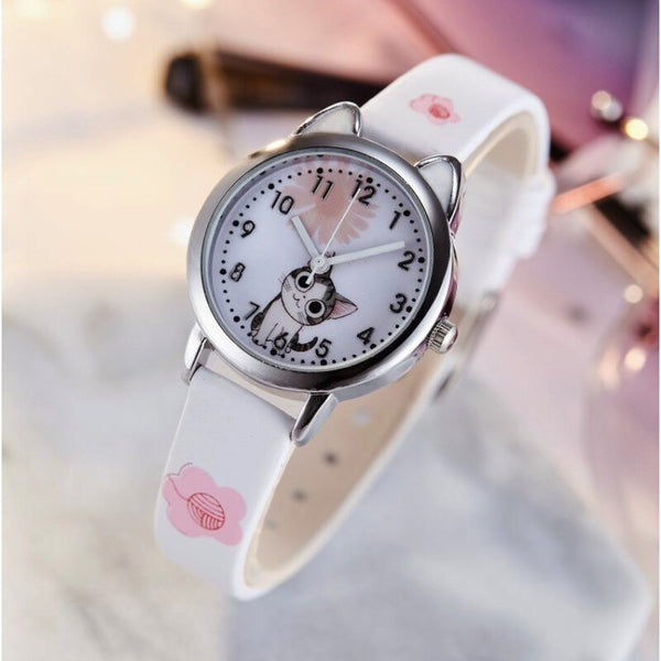 [variant_title] - NEW arrive Cute Cheese Cat Pattern Kids Watch Quartz Analog Child Watches For Boys Girls Student Clock Gift Relogio Feminino