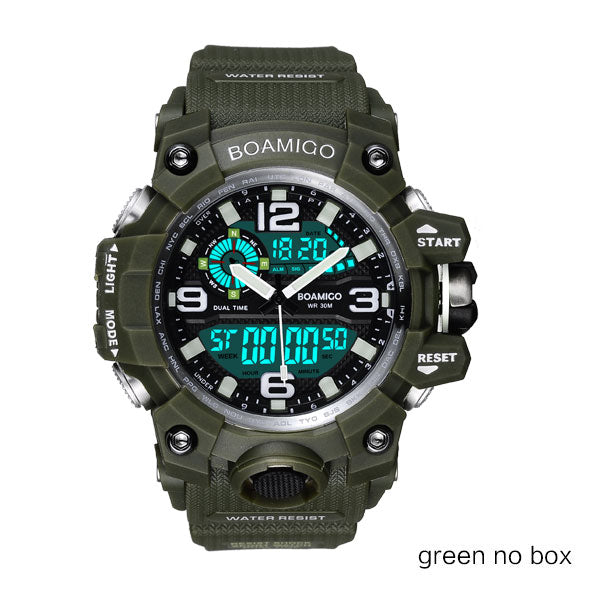 green no box - Men Sports Watches BOAMIGO Brand Digital LED Orange Shock Swim Quartz Rubber Wristwatches Waterproof Clock Relogio Masculino