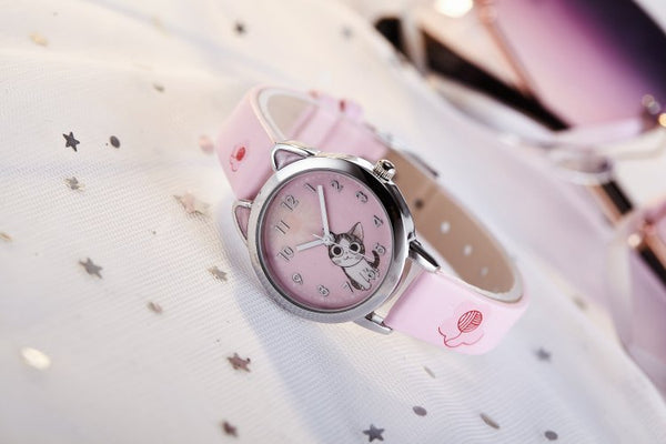 pink - NEW arrive Cute Cheese Cat Pattern Kids Watch Quartz Analog Child Watches For Boys Girls Student Clock Gift Relogio Feminino