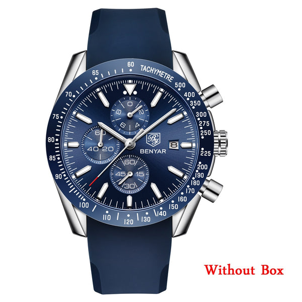 no box L Silve Blue - BENYAR Men Watches Brand Luxury Silicone Strap Waterproof Sport Quartz Chronograph Military Watch Men Clock Relogio Masculino