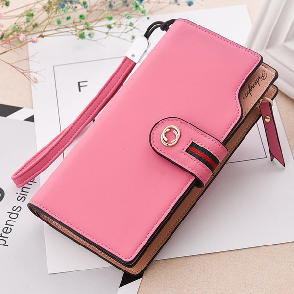 rose red - PU Leather Women's Wallet Female wallet card Holder purse for women portefeuille cartera mujer femme carteira feminina