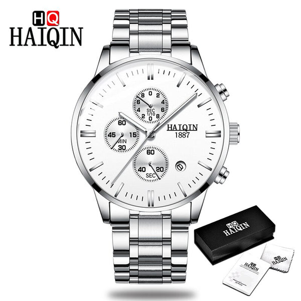 All-silver - HAIQIN Men's watches Fashion Mens watches top brand luxury/Sport/military/Gold/quartz/wrist watch men clock relogio masculino