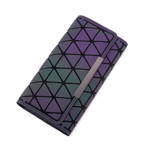 2 Sanjiao - Aliwood 2018 Hot Brand Bao Wallet Women Clutch Ladies Cards bag Fashion Geometric Female bags Noctilucent luminous Long Purse
