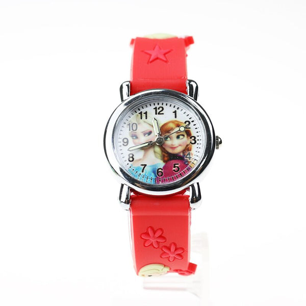 XJ Red - Princess Elsa Children Watches Electronic Colorful Light Source Child Watch Girls Birthday Party Kids Gift Clock Childrens Wrist