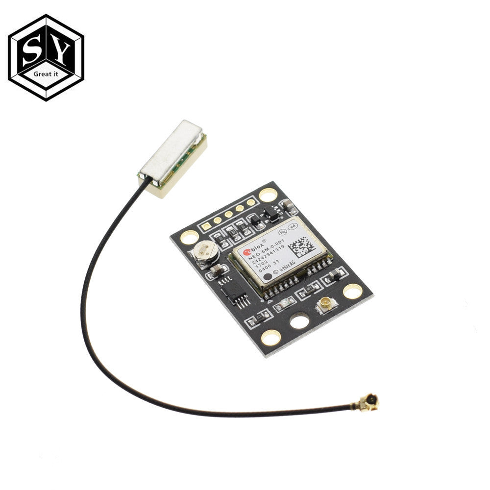 GY-NEO6MV2 1set - 1PCS GY-NEO6MV2 NEO-6M GPS Module NEO6MV2 With Flight Control EEPROM Controller MWC APM2 APM2.5 Large Antenna For Arduino Board