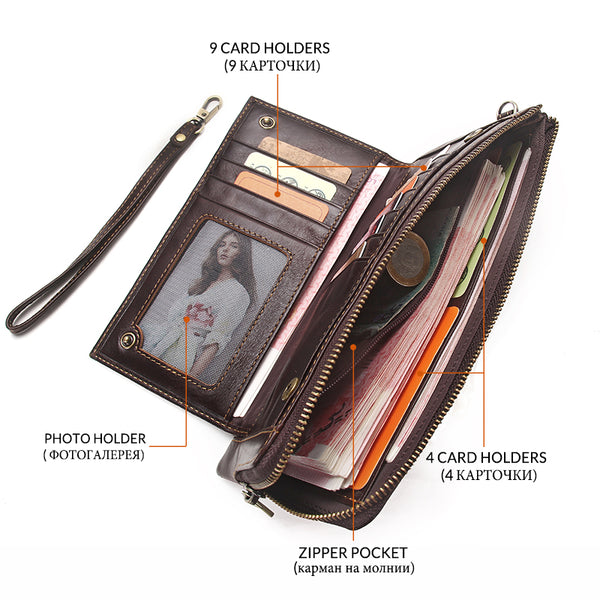 [variant_title] - 2019 Men Wallet Clutch Genuine Leather Brand Rfid  Wallet Male Organizer Cell Phone Clutch Bag Long Coin Purse Free Engrave
