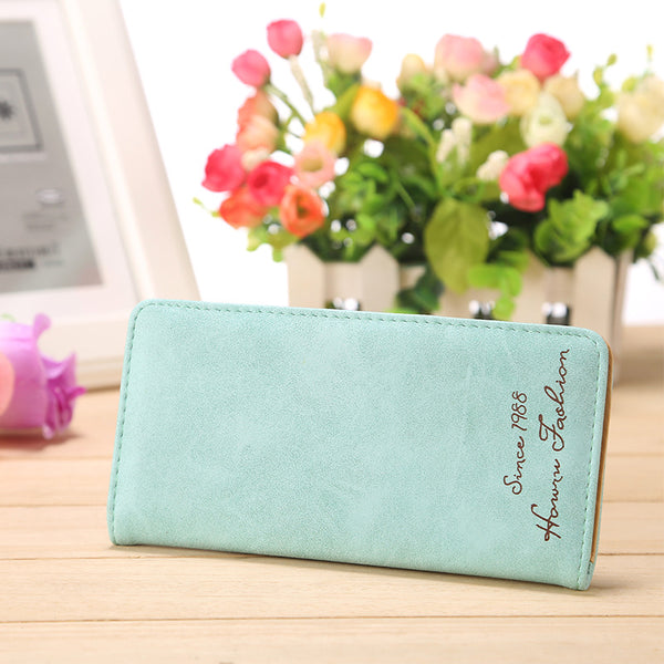 Light Green - Minimalist Designer Slim Long Bifold Women Wallet Female Clutch Leather Brand Coin Purse Ladies Card Holder Money Dollar Cuzdan