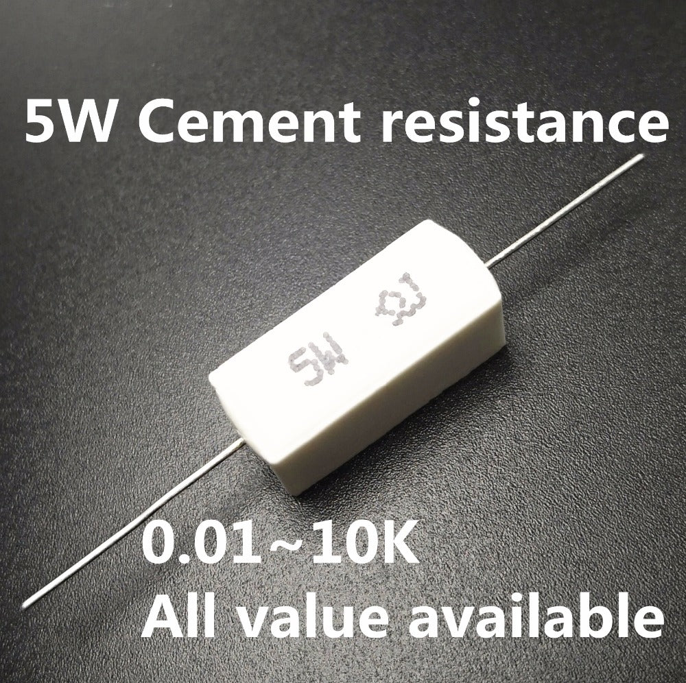[variant_title] - 5pcs 5W 39 47 51 56 75 82 100 120 150 ohm 39R 47R 51R 56R 75R 82R 100R 120R 150R Ceramic Cement Power Resistance Resistor 5%